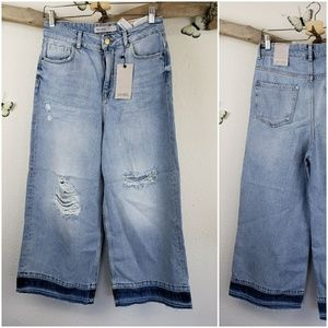 Zara distressed wide leg cropped jeans